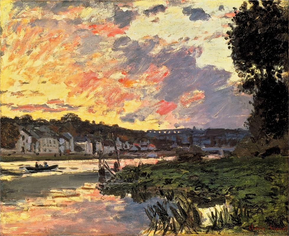 The Seine at Bougival in the Evening ~ Claude Monet painting