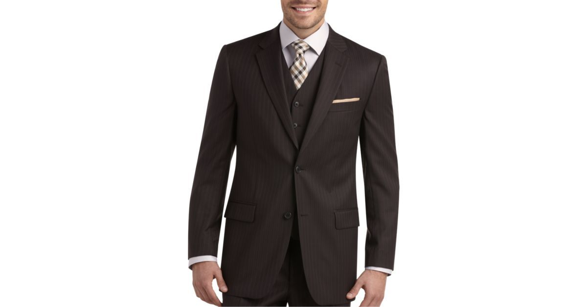 Joseph & Feiss Gold Vested Classic Fit Suit,Brown Stripe ...