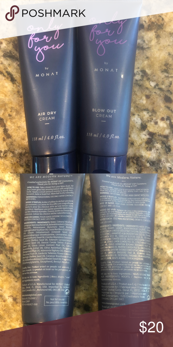 Monat Air Dry Cream & Blow Out Cream FULL SIZE (With