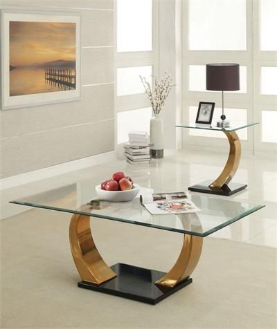 Glass Coffee Table Sets Clearance | Alena Modern Rose Gold Finish Glass Coffee  Table