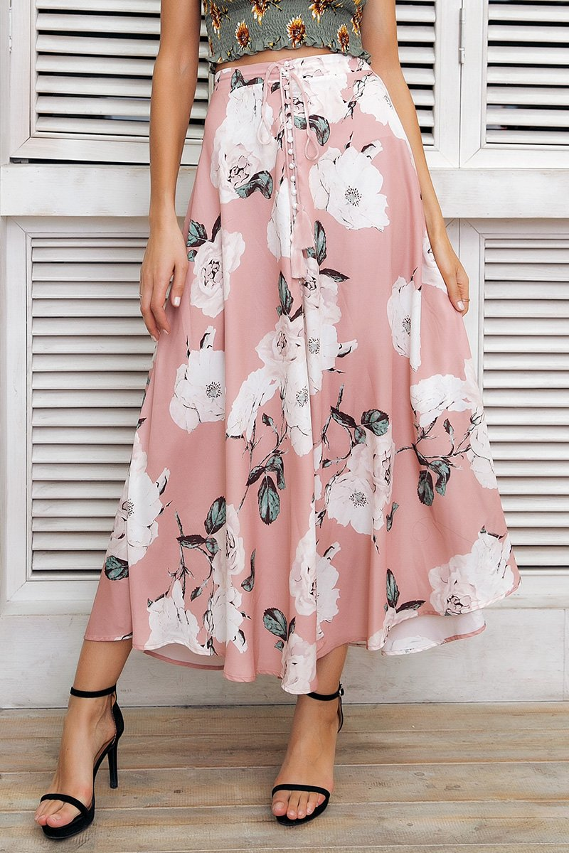 09b688f85 Material: Polyester Style: Bohemian Pattern Type: Print Silhouette:  Straight Decoration: Button Dresses Length: Ankle-Length Waistline: Empire  Size ...
