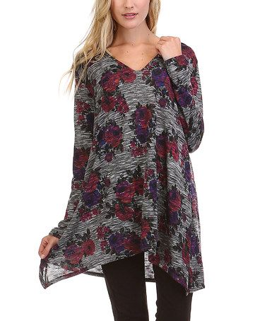 Another great find on #zulily! Charcoal Floral Sidetail Tunic - Plus #zulilyfinds