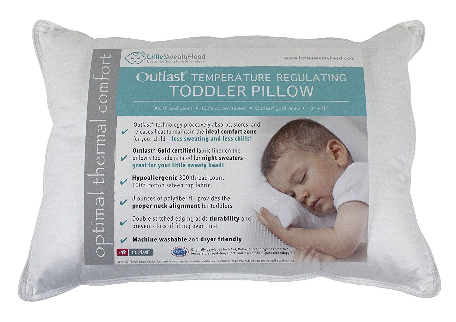 1d3d994495 Toddler Pillow for Hot or Sweaty Sleepers - 13 x 18