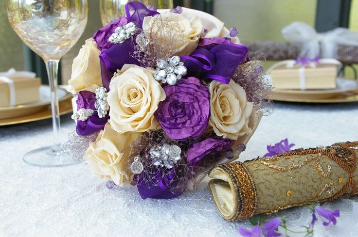 purple and Champagne flowers | ... Brooch Bridal Bouquet Purple ...