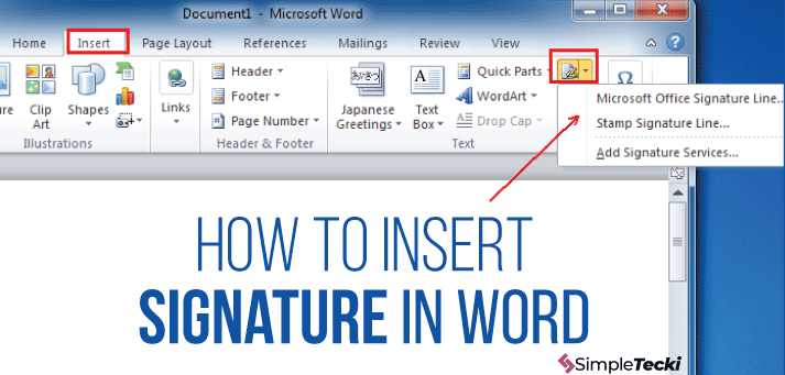 How To Insert Signature In Word Microsoft Word Document Words Signature