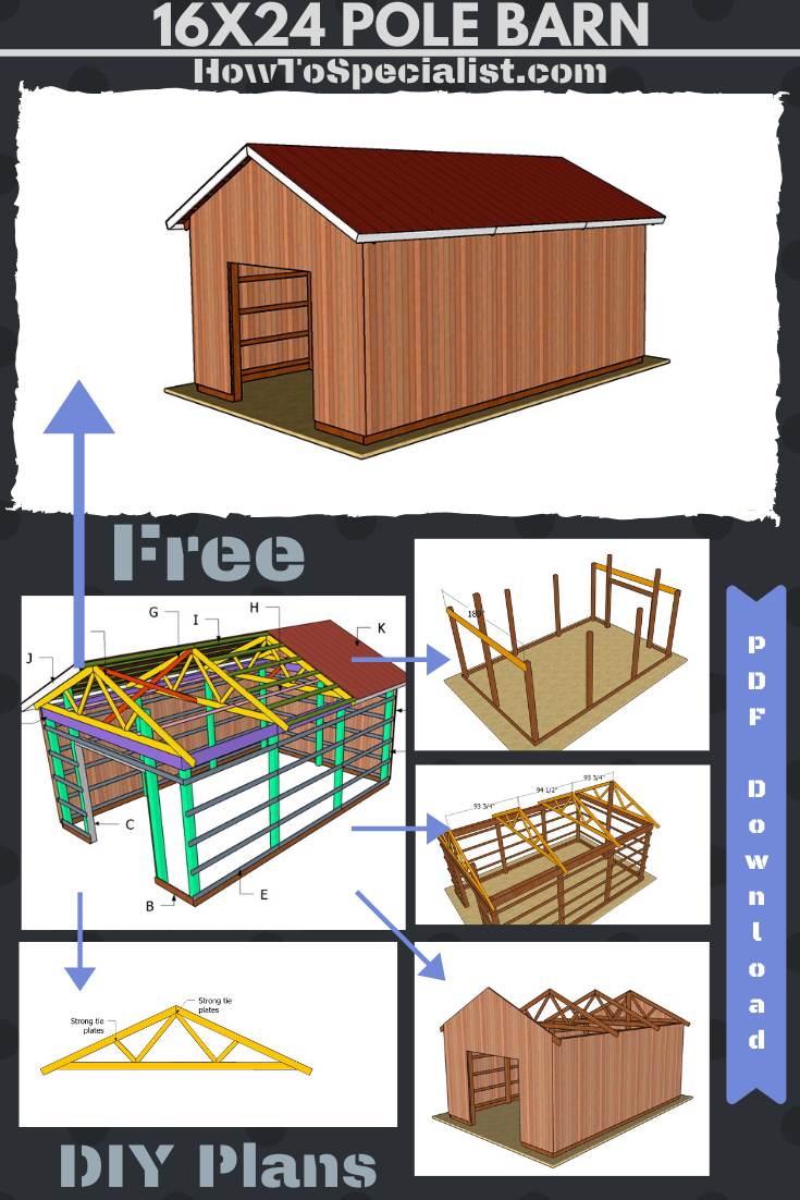 16x24 Pole Barn Free Pdf Download Plans Howtospecialist How To Build Step By Step Diy Plans In 2020 Pole Barn Plans Diy Pole Barn Building A Pole Barn