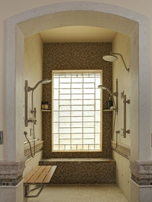 Doorless Shower With Arch Luxury Master Bathrooms Accessible Shower Traditional Bathroom