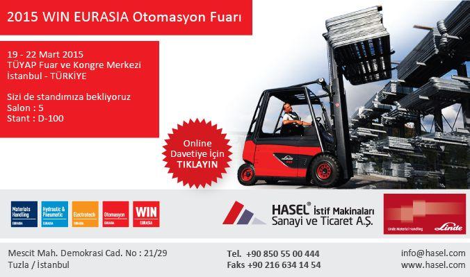 19-22 #Mart 2015 #tarih leri arasında #WIN #EURASIA #Otomasyon Fuarındayız. #TÜYAP #Fuar ve #Kongre #Merkez i #İstanbul #Türkiye Sizi de standımıza bekliyoruz.#Salon : 5 #Stant : D-100
