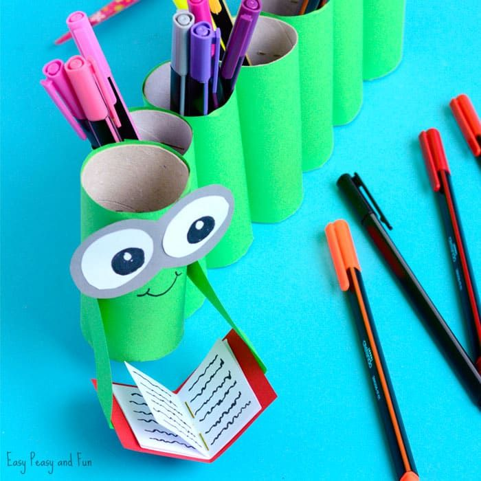 Diy Bookworm Paper Roll Pencil Holder Diy Crayons Paper Roll