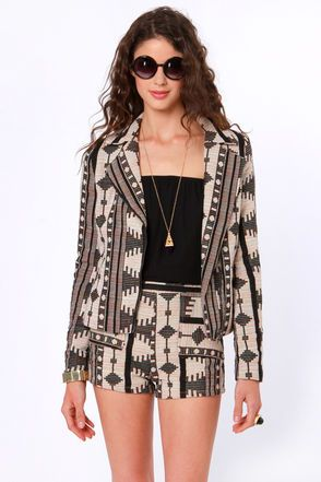 Check it out from Lulus.com! As Seen on Judy of Style Drummer blog!! One or two colors simply wouldn't do; it took every color in the rainbow to create the wonderfully woven tribal print of the Hipper Zipper Tribal Print Jacket! Notched lapels and trend-setting diagonal zipper create a unique look that will add an edge to any wardrobe. Diagonal front pockets combine functionality and fashion. Lined. Model is wearing a size small. Self: 100��0Cotton. Lining: 100��0Rayon. Dry Clean Only…