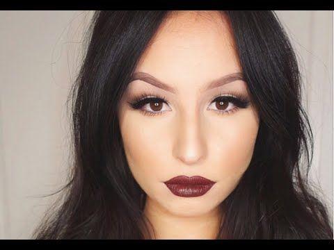 Soft Glam Eyes And Dark Brown Lips Makeup Tutorial Lip Makeup