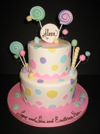 Little Girl Birthday Cakes Images Dots Adorn This Little