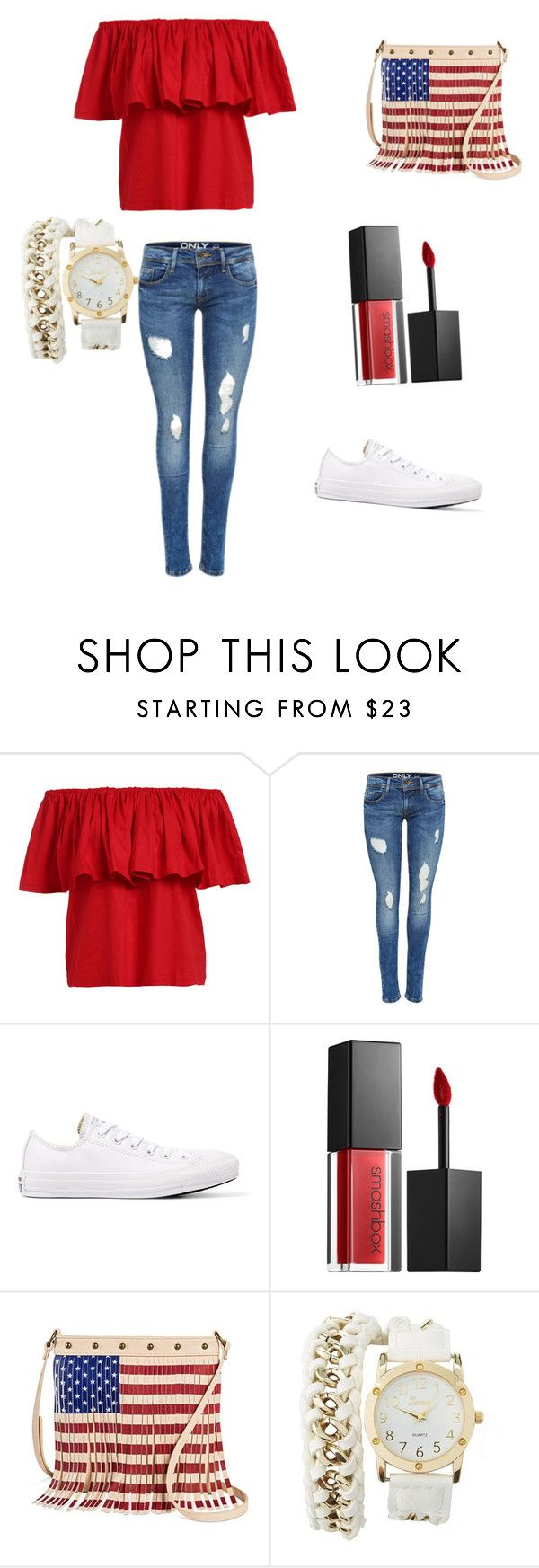 """4th of July outfit"" by khoneygirl ❤ liked on Polyvore featuring Converse, Smashbox, TWIG & ARROW, Charlotte Russe, redwhiteandblue and july4th"