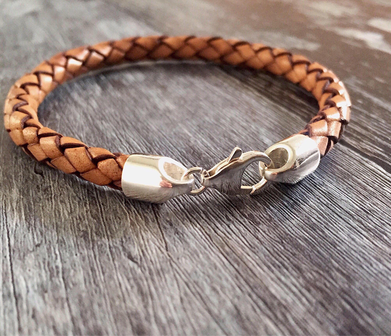 Classic plaited brown black red leather mens bracelet sterling