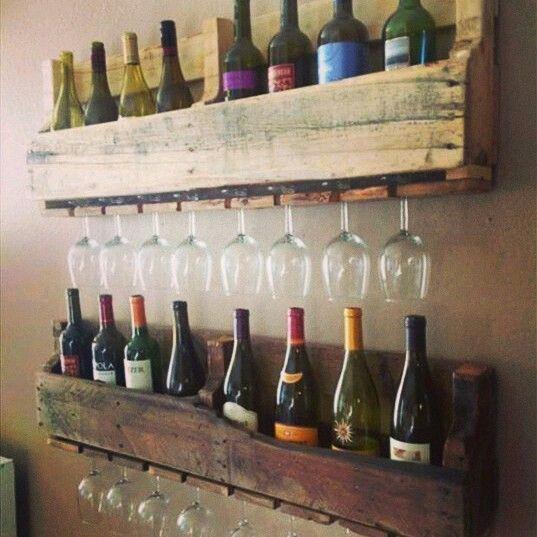 Palet reciclado porta copas y vinos | Cosas que me encantan ...