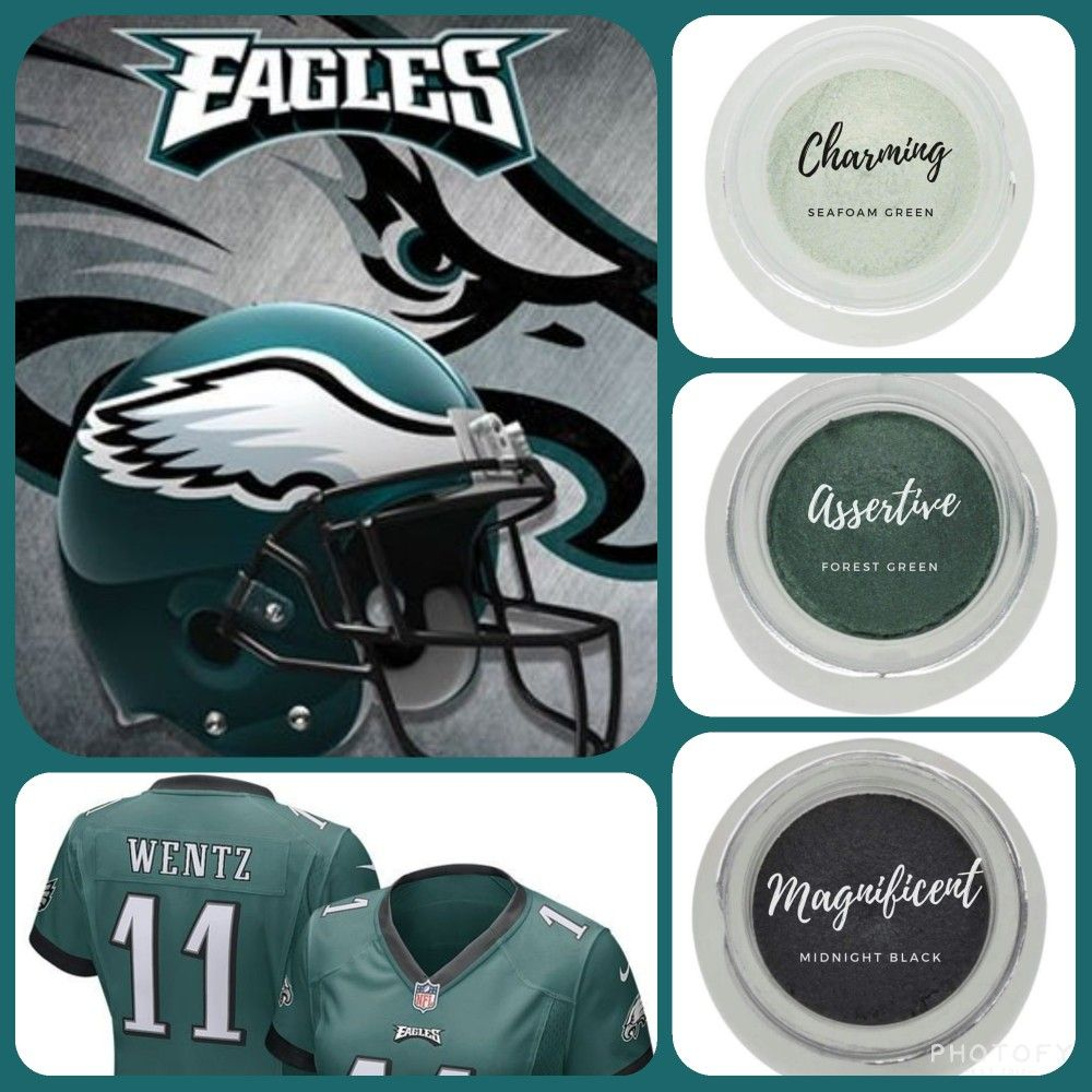 Are you a Philadelphia eagles fan? Why not sport it on your eyes? #shimmer seafoam green (charming) and forest green (assertive), paired with #matte midnight black (magnificent). Get yours as part of the December 2017 kudos at www.taniaslashes.com #splurge #younique #nfl #americanfotball #football