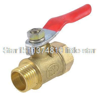 1 4 Pt Female To Male Threaded Red Lever Handle Brass Ball Valve Plumbing Can Opener Home Improvement