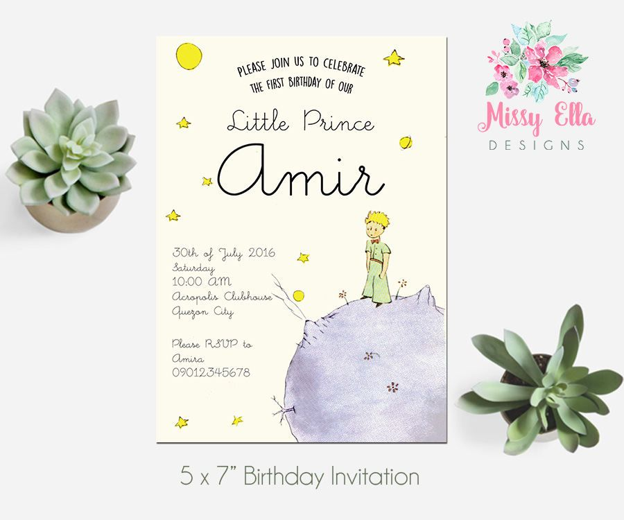The Little Prince / Le Petit Prince Birthday Party Invitation ...