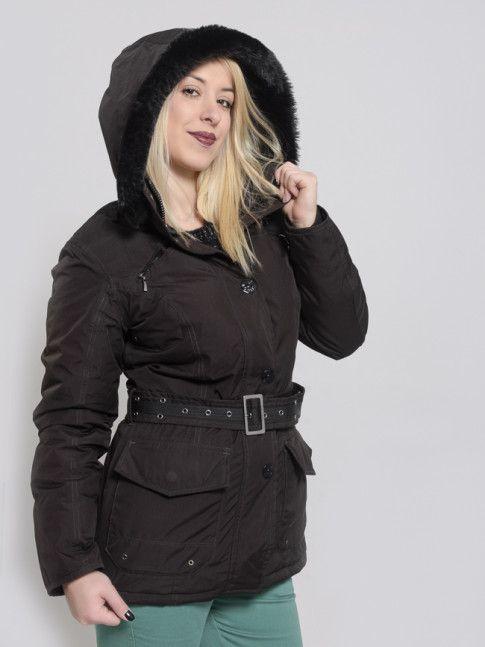 353748a7f2 Γυναικείο αδιάβροχο μπουφάν full zip WELLENSTEYN με ζώνη στη μέση σε καφέ  σκούρα απόχρωση.