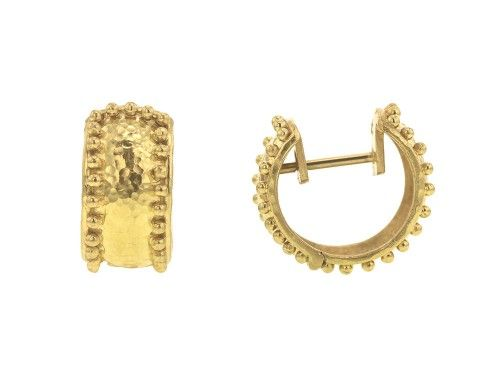 Elizabeth Locke 19k Gold Curved Hoop Earrings AySje
