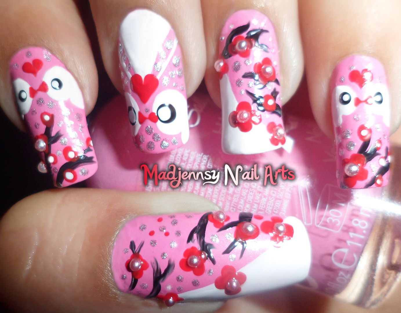 Cherry Blossoms Nail Art by Madjennsy youtube.com/user/madjennsy ...