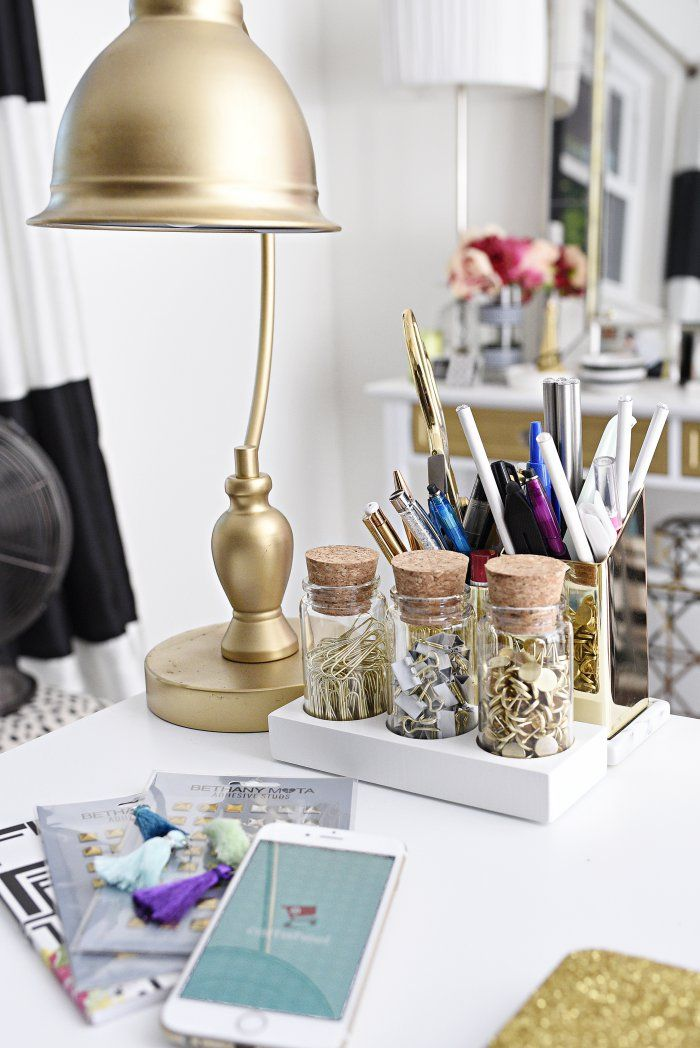 Good A glam and gold home office featuring office supplies and decor from Target The gallery