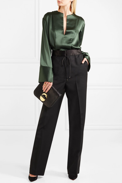 Silk Satin-trimmed Wool And Mohair-blend Wide-leg Pants - Black Bottega Veneta PY9apq
