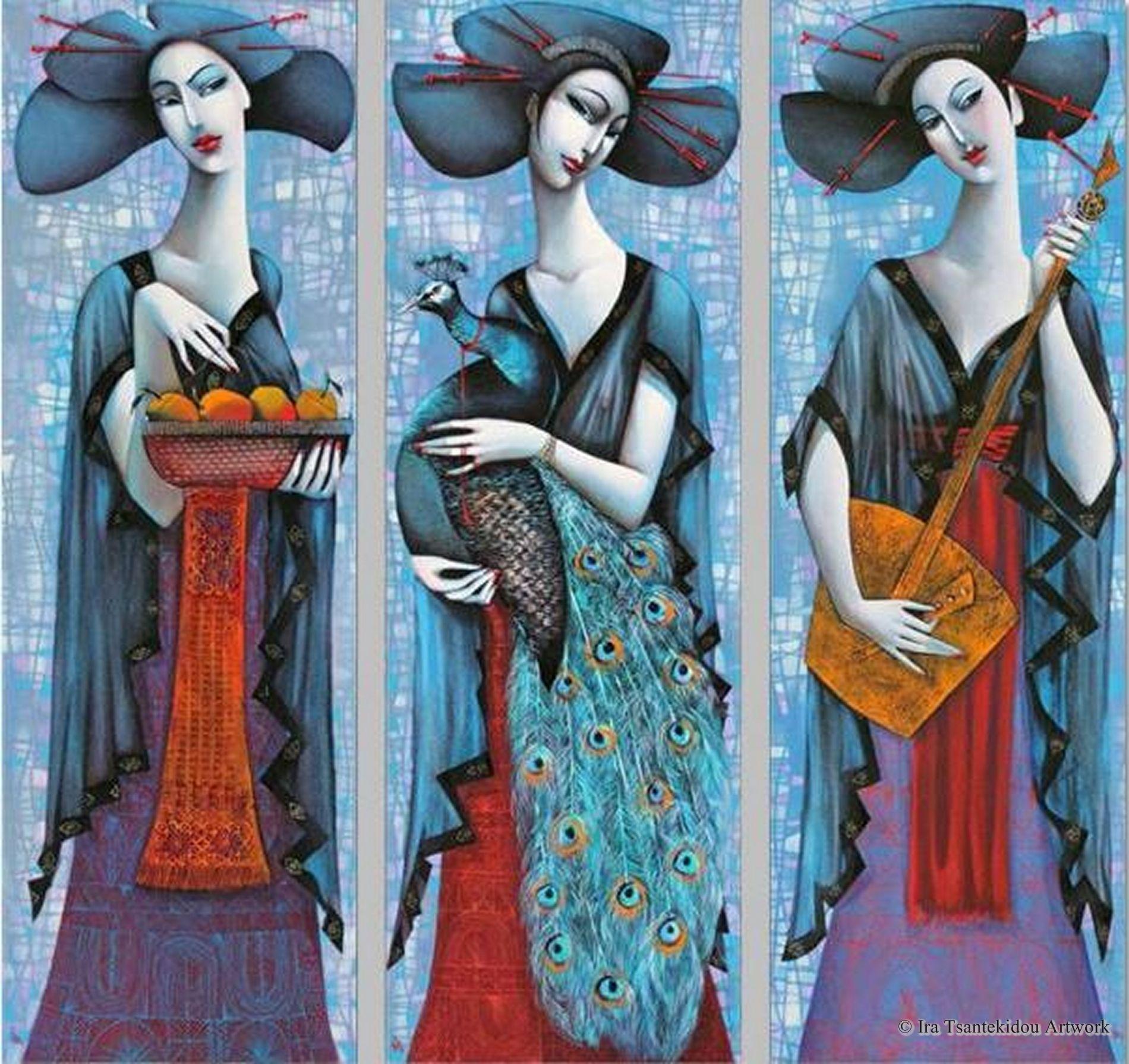 Three geishas by ira tsantekidou oil on canvas serie la femme