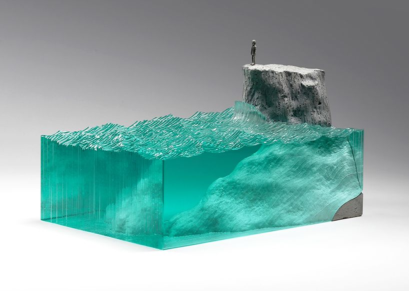 Ben Young Turns The Ocean Abyss Into Glass And Concrete Landscapes - Incredible layered glass table mimics oceans depths