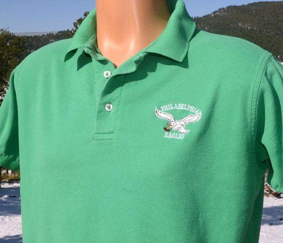 80s vintage polo golf shirt philadelphia EAGLES nfl football green XL Large  starter 996816048
