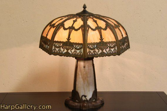 Stained Glass 1920 Antique Panel Lamp Harp Gallery Antique Furniture Antique Lamps Antique Stain Antique Furniture