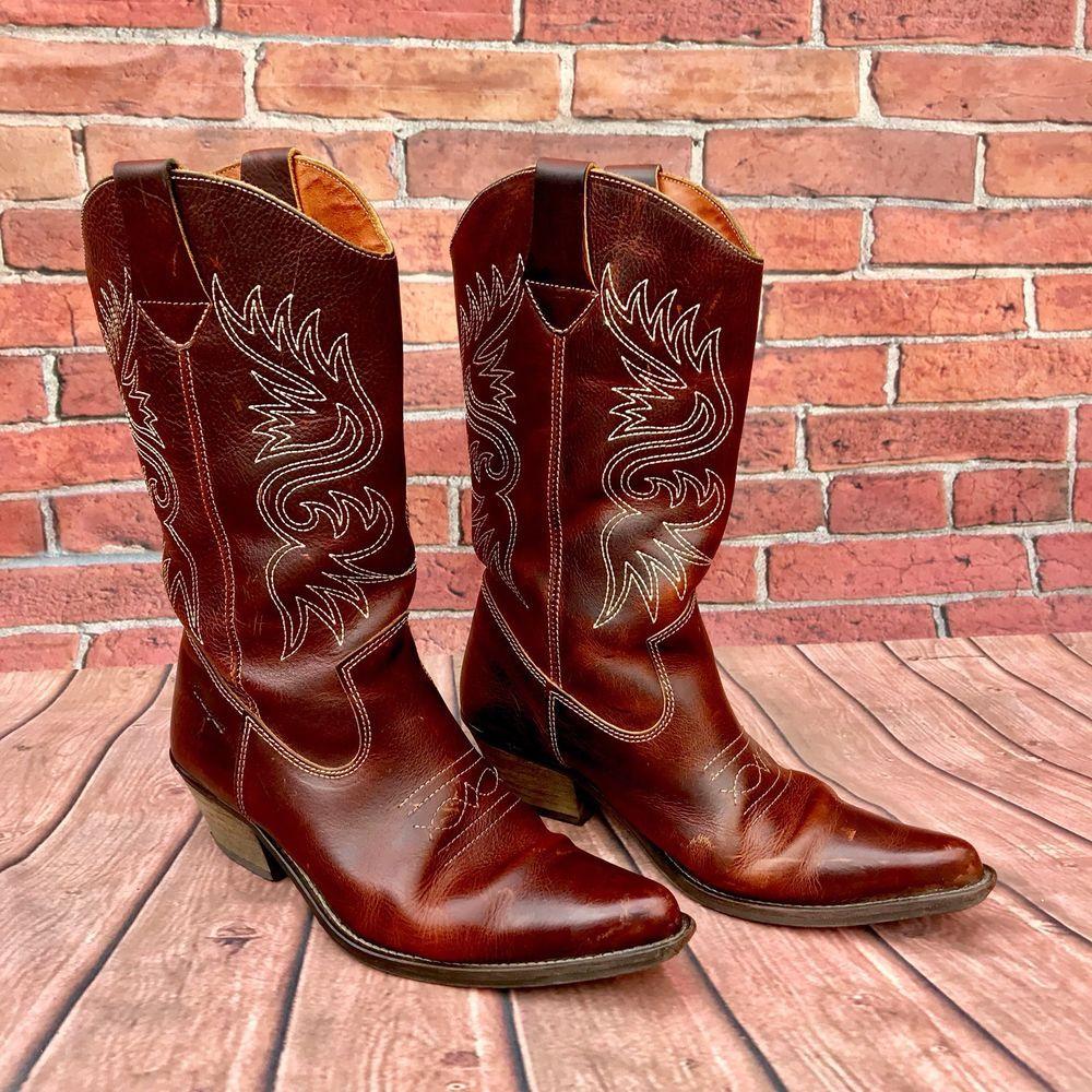 6b6c7ee9589 Vintage wrangler leather brown western cowboy boots dancing no marks ...