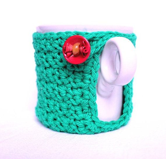 Mug Cozy Cup Cosy and Coaster Crochet green with by CageFreeFibers