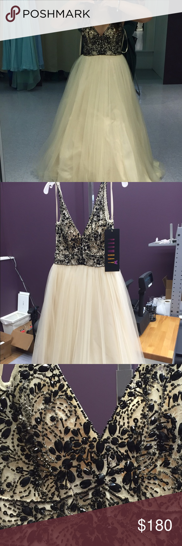 Black and champagne prom dress beautiful champagne tulle prom dress