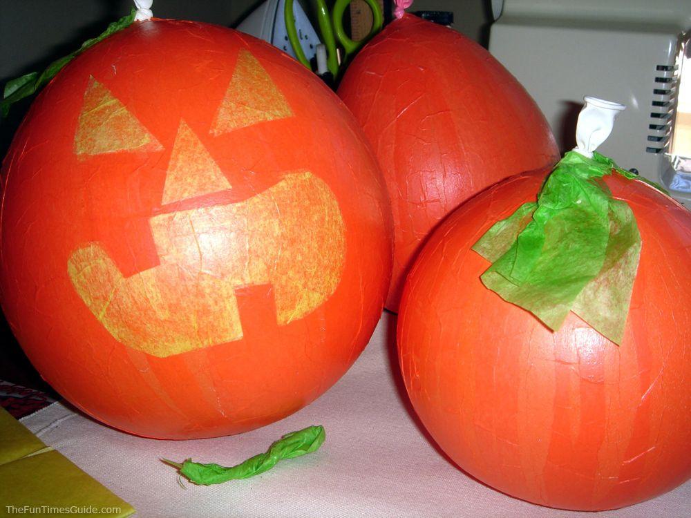 Easy Halloween Crafts  Decorations Make Paper Mache Pumpkins