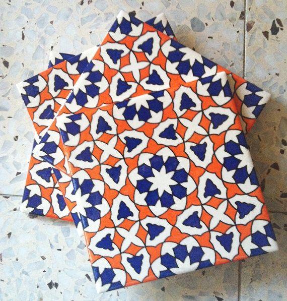 Sale Vintage 80s Moroccan Ceramic Tiles Kitchen Back Splash Moroccan Wall Tiles Kitchen Tiles Tiles