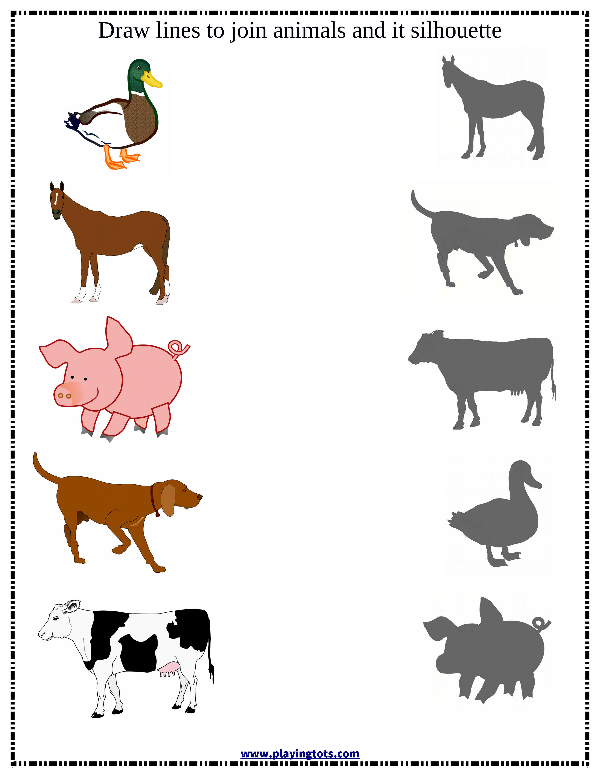 Match Animals Silhouette Worksheet Free Printable File