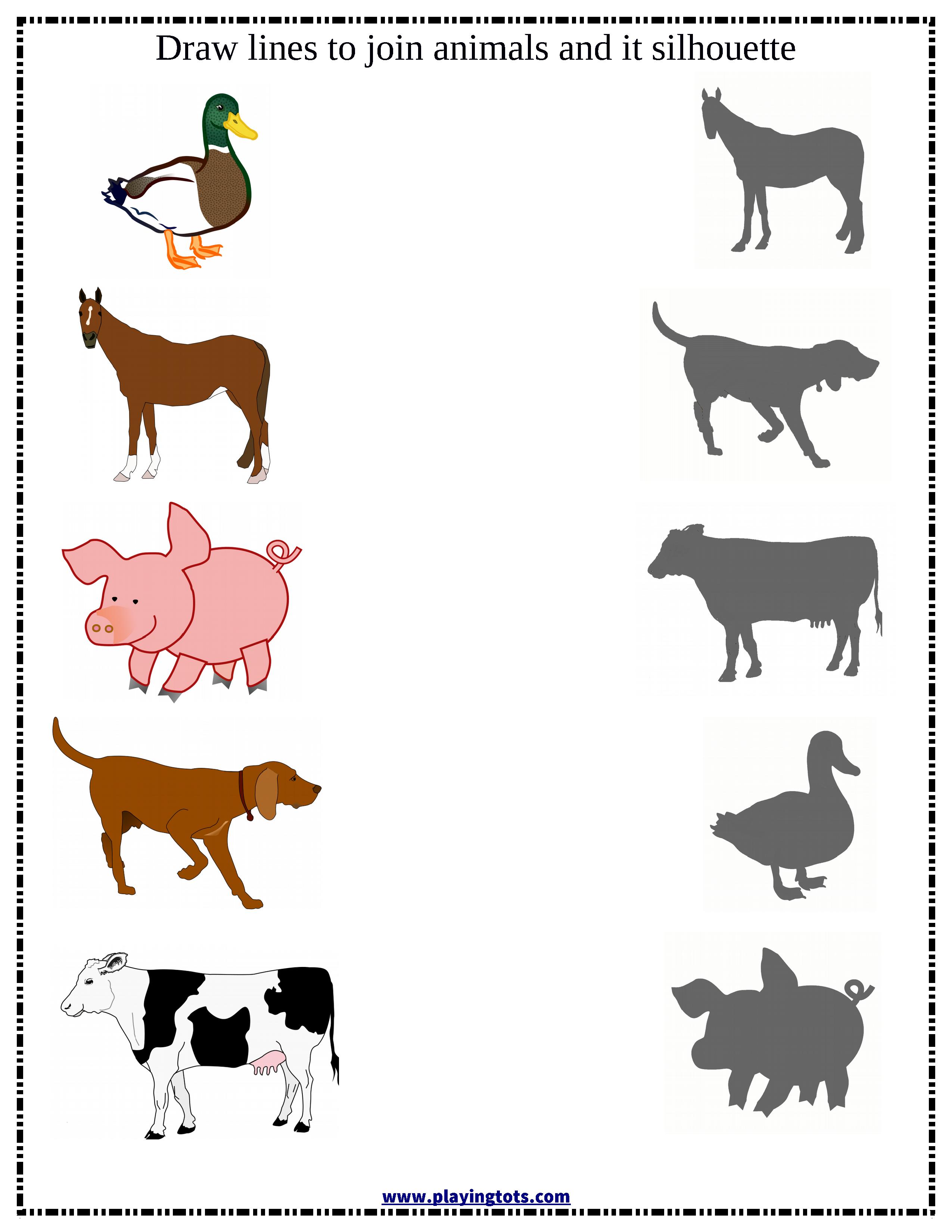 match animals silhouette worksheet free printable file folder learn play toddler preschool mom. Black Bedroom Furniture Sets. Home Design Ideas