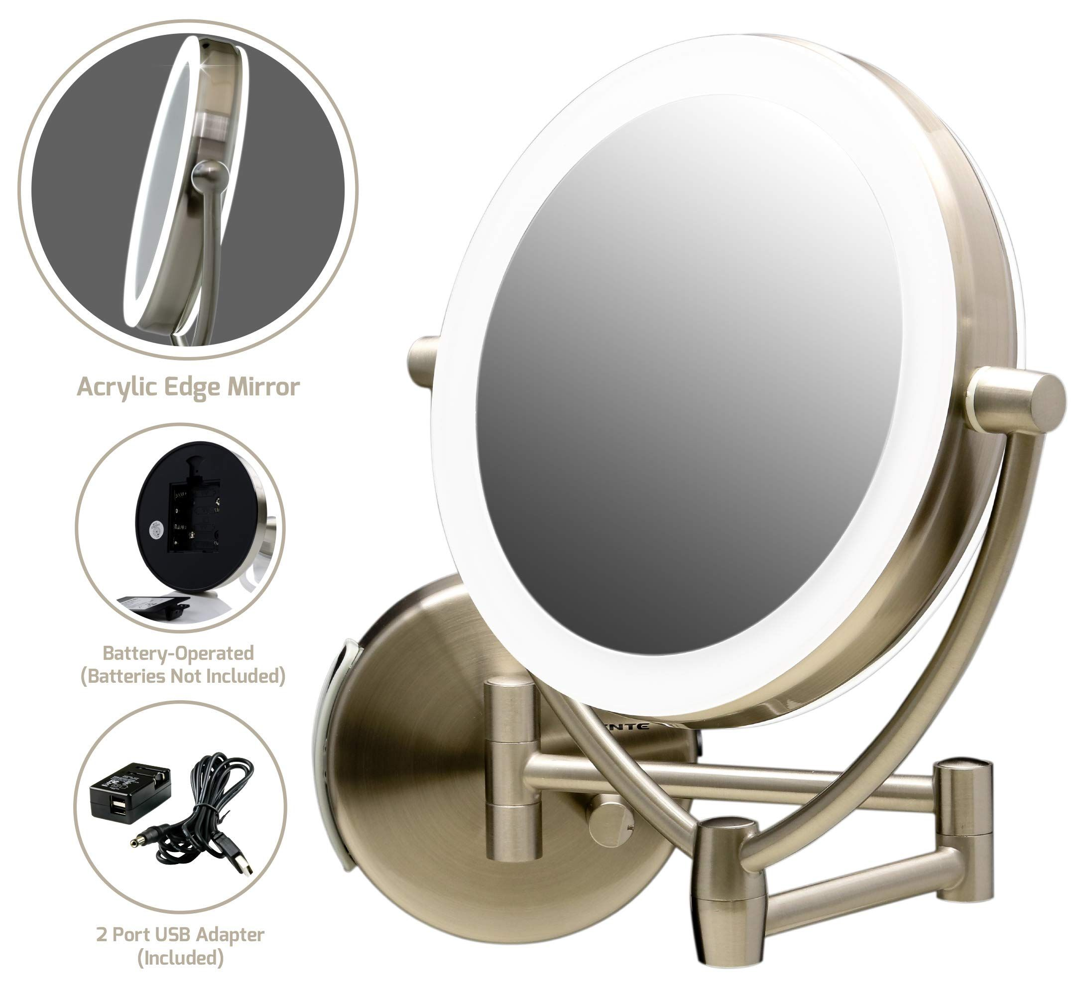 Ovente Wall Mount Mirror Battery Or Usb Adapter Operated Dimmable Led Lighted Makeup Mirro Wall Mounted Makeup Mirror Makeup Mirror With Lights Makeup Mirror