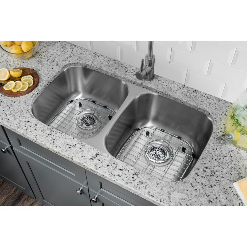 Undermount 32 in. 16-Gauge Stainless Steel Kitchen Sink in Brushed ...