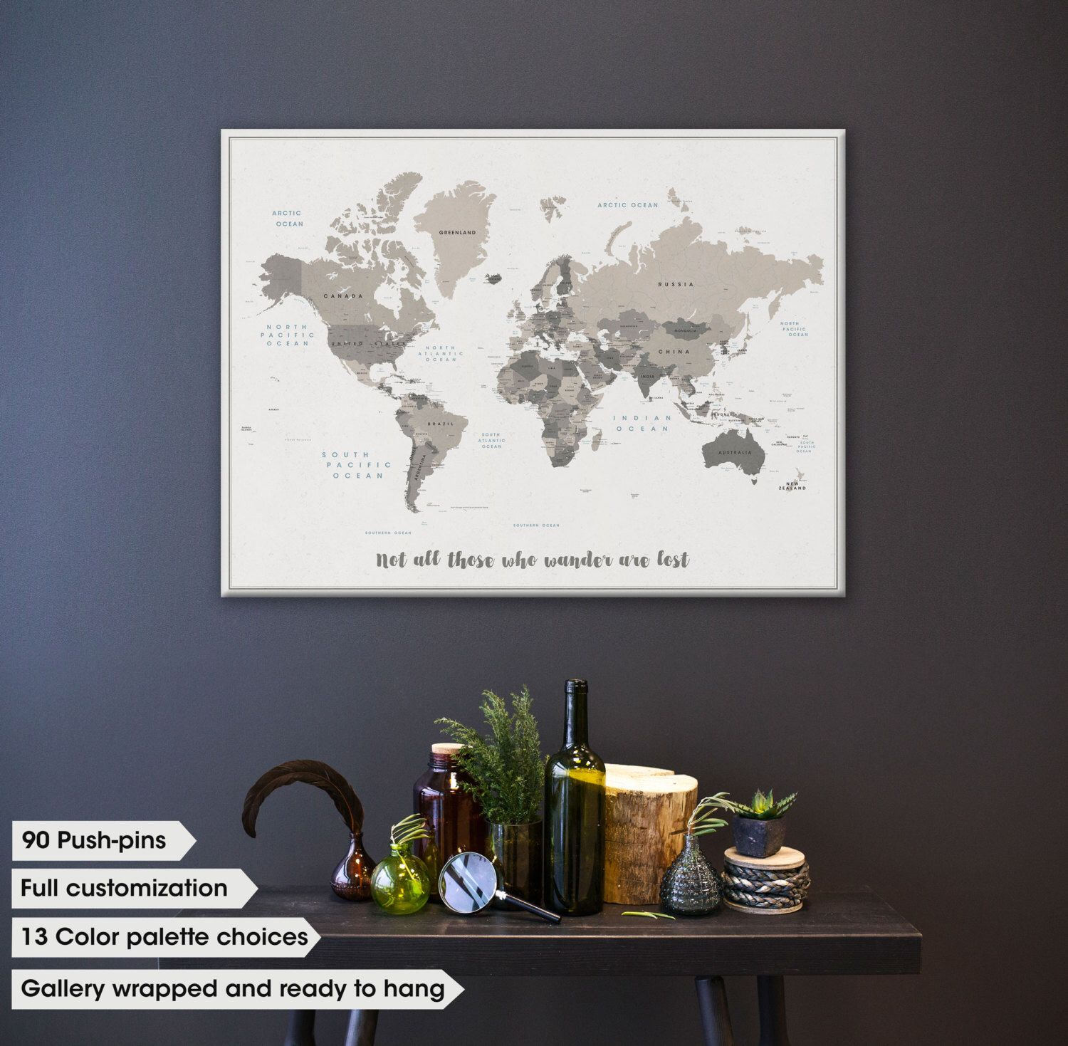 push pin map canvas push pin travel map travel map with push pins canvas travel map modern world map on canvas with quote