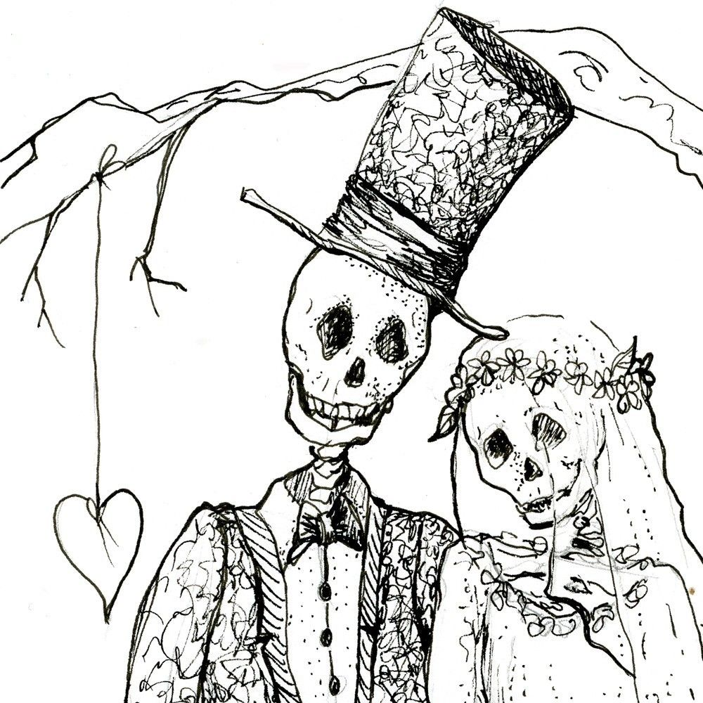 skeleton art skeleton wedding day of the dead wedding print bride