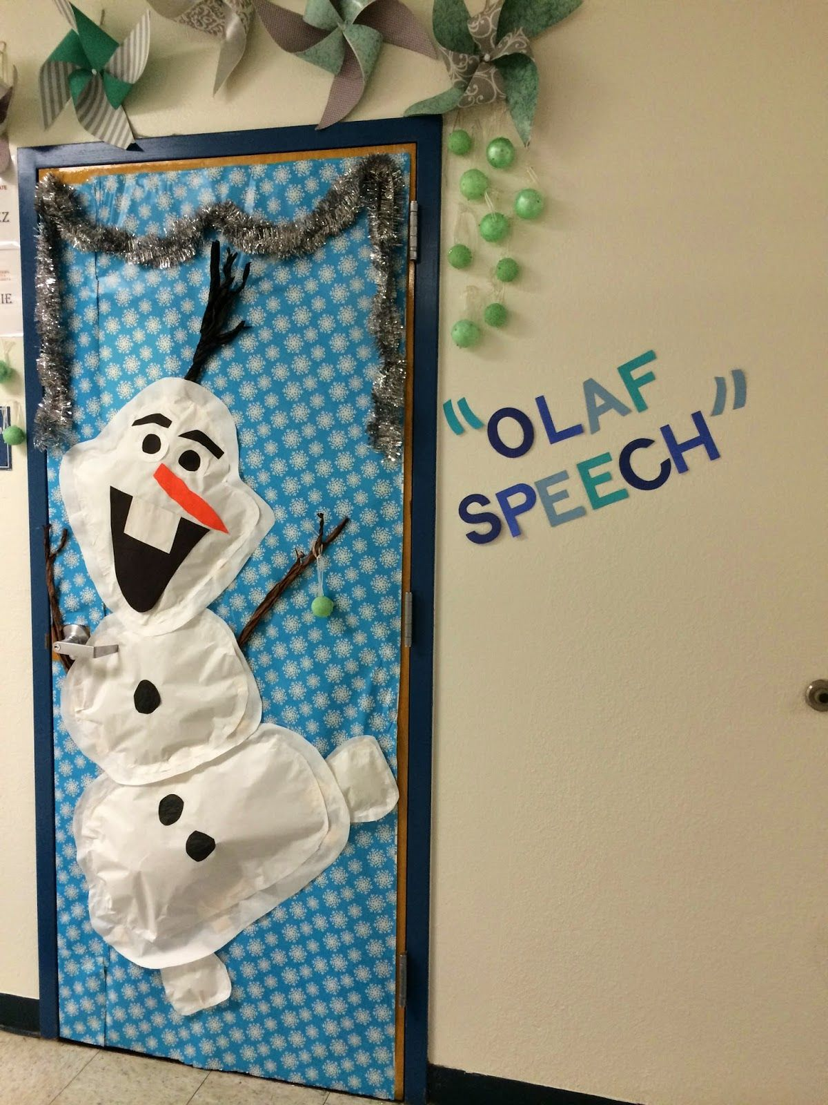 Winter Holiday Classroom Decorations : Olaf winter door theme classroom decor work for