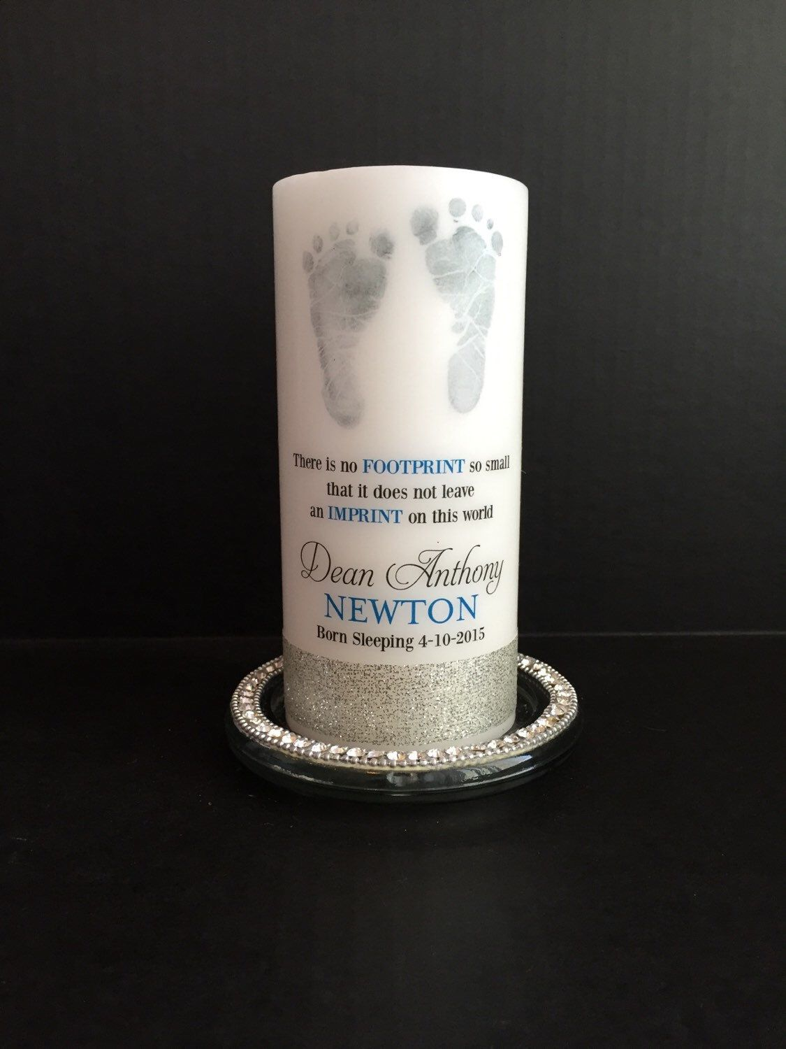 Footprint baby memorial candle personalized candle born sleeping footprint baby memorial candle personalized candle born sleeping candle angel baby candle negle Choice Image