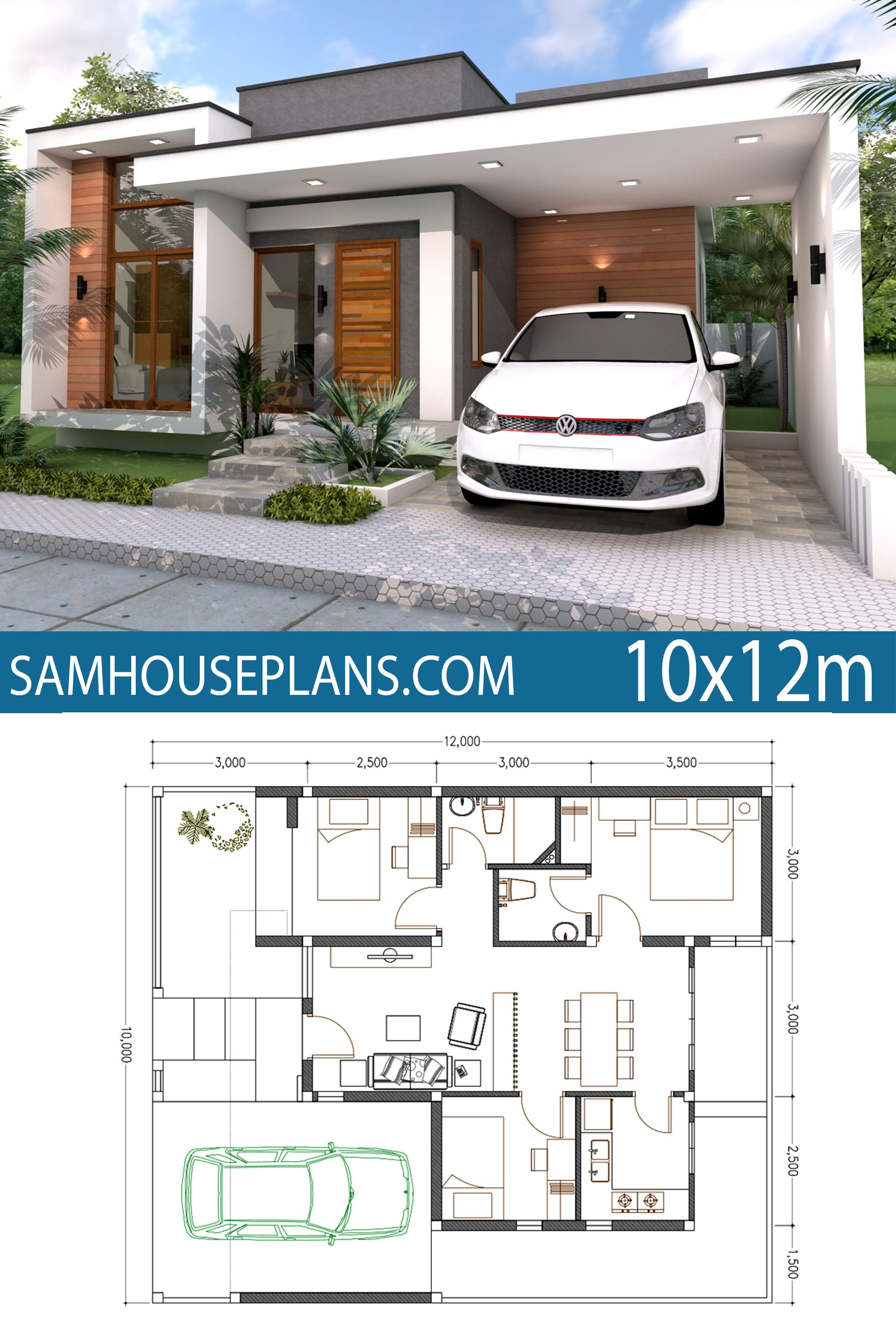 Home Plan 10x12m 3 Bedrooms House Plans Free Downloads Model House Plan Contemporary House Plans Small House Design Plans