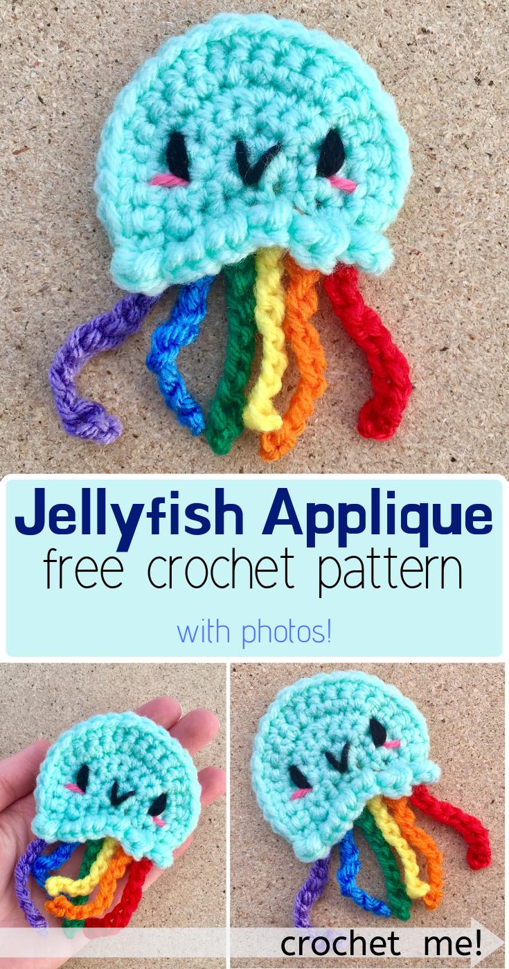 Kawaii Rainbow Jellyfish Applique - FREE Crochet Pattern! #crochetapplique