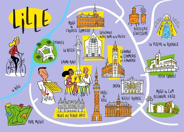 Philippe Doro  Plan illustré de la ville de Lille Dessin pour Atout - Chambre De Commerce Clermont Ferrand