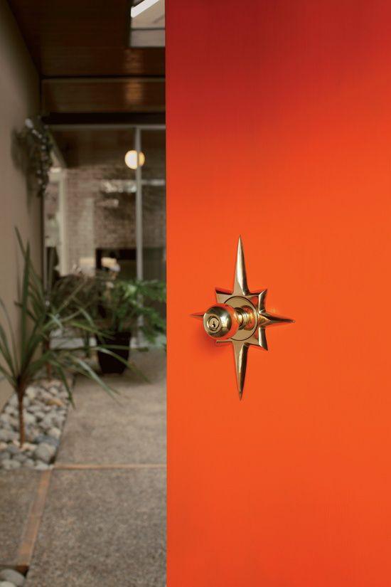 Mid Century Modern Interior Door Knobs rejuvenation titan door escutcheon knob orange starburst brass mid