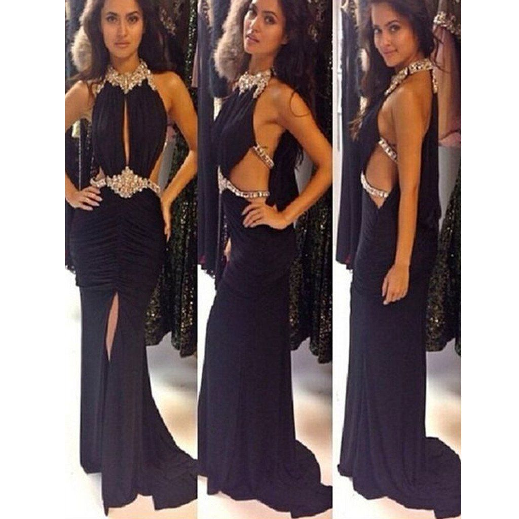 New black hater rhinestones sparkly sexy open back evening prom gown