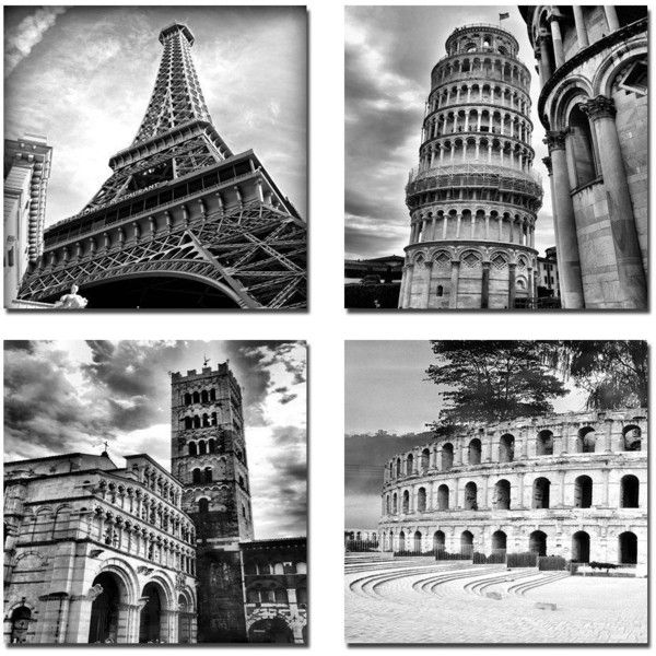 Black white paris italy canvas photo prints modern wall art framed 4 ❤ liked on polyvore featuring home home decor wall art backgrounds black canvas